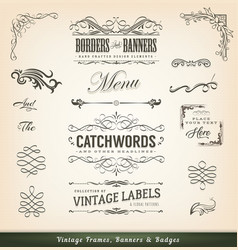 vintage calligraphic frames and banners vector image vector image