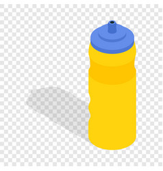 Yellow sport plastic water bottle isometric icon vector