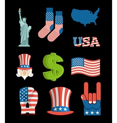 America symbol set USA National Landmark State vector image