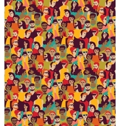 Big crowd happy people color seamless pattern vector