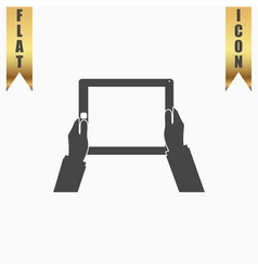 Hands holding tablet computer with blank screen vector