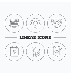 Newborn clothes diapers and sleep cradle icons vector