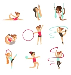 Little Girls Doing Gymnastics And Acrobatics vector image