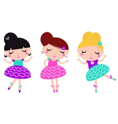Cute little colorful dancing ballerina girls set vector