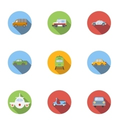 Variety of transport icons set flat style vector