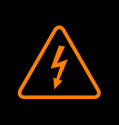 High voltage danger sign orange icon on black vector