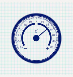 Round thermometer blue icon on notebook sheet vector