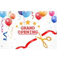 Grand opening banner with confetti and cutting rib vector