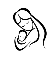 Mother and her baby symbol vector