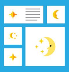 Flat icon midnight set of bedtime nighttime moon vector