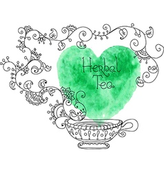 Herbal tea with watercolor green heart vector