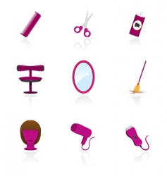 hairdressing saloon icons vector image