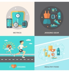 Jogging flat set vector