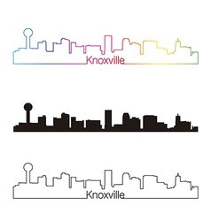 Knoxville skyline linear style with rainbow vector image