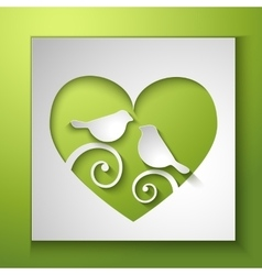 Background with birds and love heart vector