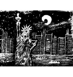 Statue of liberty at night vector