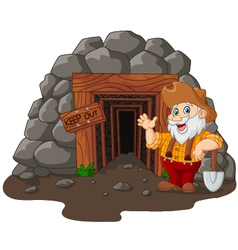 Cartoon mine entrance with gold miner holding shov vector
