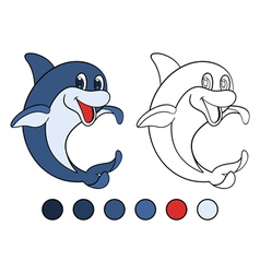 Smiling dolphin is standing on his tail vector