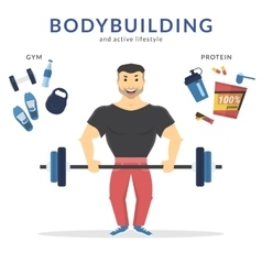 Happy bodybuilder vector