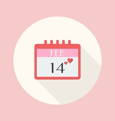 Valentines day calendar flat icon vector