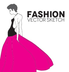 Fashion model in a pink skirt vector
