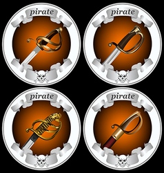 Icons pirate swords vector