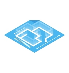 Architectural plan isometric 3d icon vector