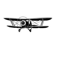 Biplane retro monochrome vector