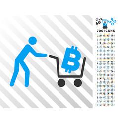 Bitcoin shopping cart flat icon with bonus vector