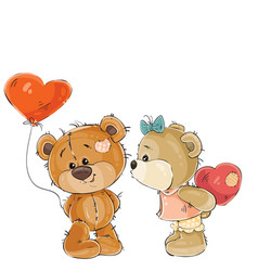 brown teddy bear holding in its paw a red vector image