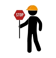 Builder worker construction stop sign vector