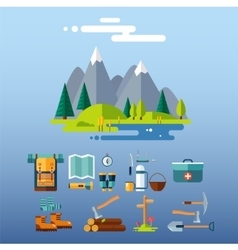 Camping Equipment Icons Flat Design vector image vector image