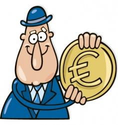 cartoon man with Euro coin vector image