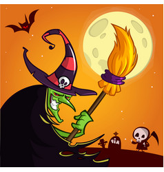 cartoon witch with a broom vector image vector image
