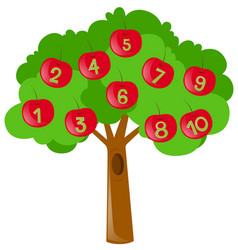 Counting numbers with red apples on tree vector