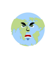 Earth angry emoji planet aggressive emotion vector