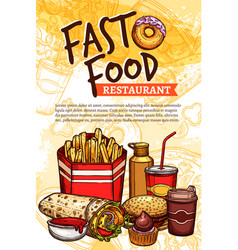 Fast food sketch poster for restaurant vector