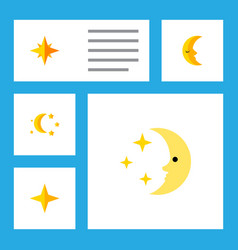 Flat icon midnight set of bedtime nighttime moon vector
