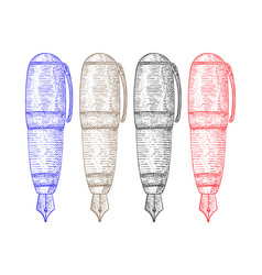 fountain pen colored hand drawn sketch vector image