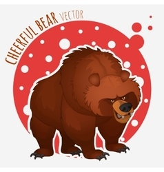 Funny angry bear on a red-white background vector