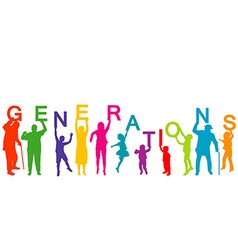 Generations concept with people from different vector image vector image
