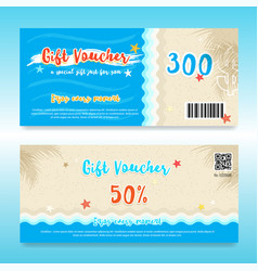 Gift voucher or gift card in summer theme with vector