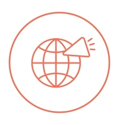 Globe with loudspeaker line icon vector