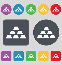 Gold icon sign a set of 12 colored buttons flat vector
