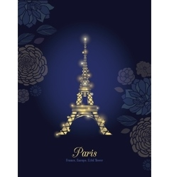 Golden Glowing Eiffel Tower Surrounded By vector image vector image