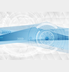 grey and blue tech polygons background with gears vector image vector image