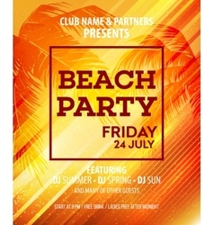 Hello Summer Beach Party Flyer Design vector image