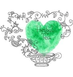 Herbal tea with watercolor green heart vector