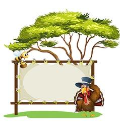 honeybee turkey signboard vector image vector image