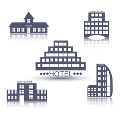 Hotel buildings flat design set vector image vector image